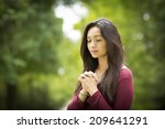 woman hands praying on outdoors ... | Shutterstock . vector #209641291