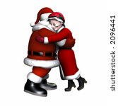 Mr And Mrs Claus Hugging....