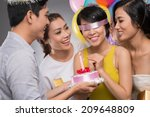 blindfolded birthday girl... | Shutterstock . vector #209648809