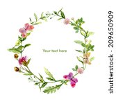 wreath border frame with wild... | Shutterstock . vector #209650909