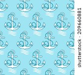 seamless marine pattern with... | Shutterstock .eps vector #209660881