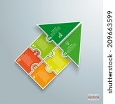 infographic with colored puzzle ... | Shutterstock .eps vector #209663599