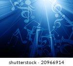 musical notes on a dark blue...   Shutterstock . vector #20966914