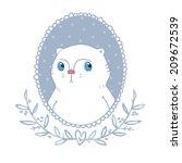 portrait depicting white cat | Shutterstock .eps vector #209672539