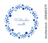 watercolor wreath. hand painted ... | Shutterstock .eps vector #209685379