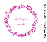 watercolor wreath. hand painted ... | Shutterstock .eps vector #209685385