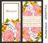 set of invitations with floral... | Shutterstock . vector #209697511