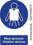 wear personal flotation devices | Shutterstock .eps vector #209709079