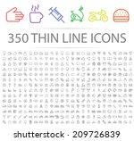 Set of 350 Minimal Modern Thin Stroke Black Icons (Multimedia, Business, Ecology, Education, Family, Medical, Fitness, Shopping, Construction, Travel, Hotel ) on White Background. | Shutterstock vector #209726839