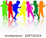 happy children silhouettes | Shutterstock .eps vector #209732314
