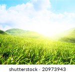 summer green field and mountains | Shutterstock . vector #20973943