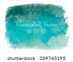 Teal Watercolor Vector...