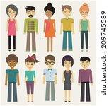 trendy cartoon casual... | Shutterstock .eps vector #209745589