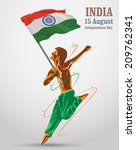 man with indian flag    Shutterstock .eps vector #209762341