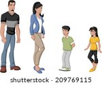 happy cartoon latin family.... | Shutterstock .eps vector #209769115