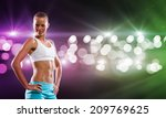 sport woman in shorts and top... | Shutterstock . vector #209769625
