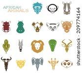 African Animal Icons Portrait...