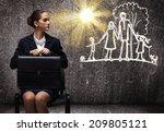 young upset businesswoman...   Shutterstock . vector #209805121