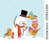funny robins birds making a... | Shutterstock .eps vector #209811364