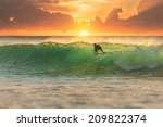 Surfer At Sunrise With Perfect...