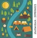 summer camp card design. vector ...   Shutterstock .eps vector #209836021