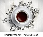 creative concept with  coffee... | Shutterstock .eps vector #209838955