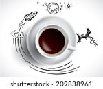 creative concept with coffee... | Shutterstock .eps vector #209838961