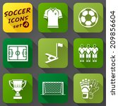 flat icons set of soccer... | Shutterstock . vector #209856604