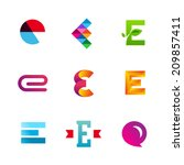 set of letter e logo icons... | Shutterstock .eps vector #209857411