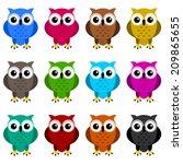 owls colors | Shutterstock .eps vector #209865655