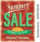 summer sale. vintage card.... | Shutterstock .eps vector #209878144