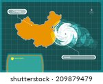 china map with eye of typhoon ... | Shutterstock .eps vector #209879479