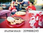 tailgate  focus on apple pie on ...   Shutterstock . vector #209888245