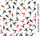 seamless pattern. yoga poses as ... | Shutterstock .eps vector #209910259