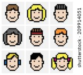 faces in pixel art style | Shutterstock .eps vector #209914051