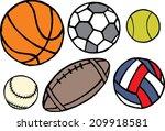 set of different sport balls....