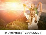 happiness mother and son on the ... | Shutterstock . vector #209922277