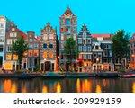 Night City View Of Amsterdam...