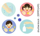 hand washing with water and... | Shutterstock .eps vector #209951491
