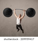 strong muscular man lifting... | Shutterstock . vector #209959417