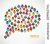 top view of social people... | Shutterstock .eps vector #209962741