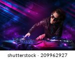 attractive young dj playing on... | Shutterstock . vector #209962927