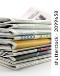 pile of newspaper in isolated... | Shutterstock . vector #2099658