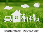 paper cut of family with house... | Shutterstock . vector #209965909