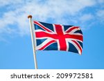 Uk Flag In The Blue Sky