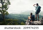 hikers relaxing on top of the... | Shutterstock . vector #209974255