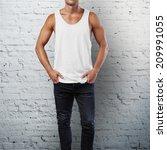 man wearing white sleeveless... | Shutterstock . vector #209991055