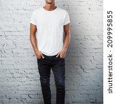 man wearing blank t shirt.... | Shutterstock . vector #209995855