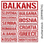 balkan countries rubber stamps | Shutterstock .eps vector #209998741
