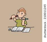 boy in stress bite pencil | Shutterstock .eps vector #210011245